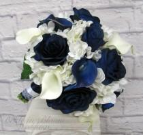 wedding photo - Wedding Bouquet Brides bouquet - Navy and white real touch calla lily blue rose