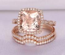 wedding photo - Morganite Wedding Ring Set,Rose gold morganite engagement ring,8x8mm Cushion Cut Pink Stone,Diamond Curved Wedding Band,Bridal Set,14K