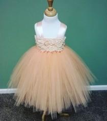 wedding photo - Peach Flower Girl Dress/Peach Flower Girl Tutu Dress/Peach Tutu Dress/Toddler Tutu Dress/Birthday Tutu Dress/Princess Tutu Dress