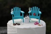wedding photo - Beach Theme Wedding Cake Topper - BASIC SET with DRINKS - Classic Adirondack Chairs & Flip Flops - by Landscapes In Miniature