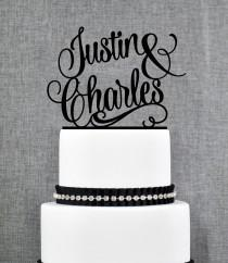 wedding photo - Name Cake Topper, Personalized Cake Topper, Wedding Cake Topper, Scripted Cake Topper, Calligraphy Cake Topper, Monogram Cake Topper (T205)