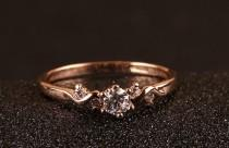 wedding photo - Dainty Rose Gold Cubic Zirconia Engagement/Promise ring - DISCONTINUED - IN STOCK!