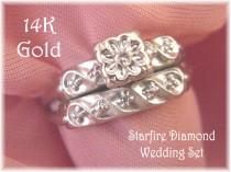 wedding photo - 14K White Gold - Starfire Diamond Wedding Ring Set - Pennsylvania Antique Vintage Estate - Wedding Bride Victotian - Gift Box FREE SHIPPING