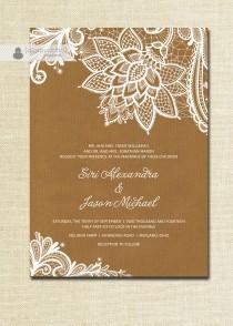 wedding photo - Lace Wedding Invitation Kraft Shabby Chic Rustic Wedding White Ivory Cream Brown Doily Craft FREE PRIORITY SHIPPING or DiY Printable- Siri
