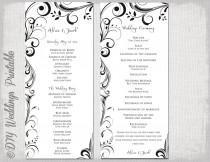 "wedding photo - Black & white Wedding program template -instant download ""Scroll"" wedding order of ceremony -DIY printable order of service -YOU EDIT"