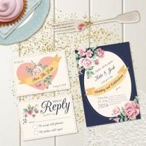 wedding photo - DIY Printable Wedding Invitation - Fleur Wedding Stationery Set - Invite, RSVP & Save The Date - Downloadable