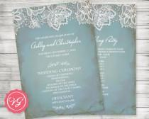 wedding photo - Printable Customized Wedding Program ~ Winter, Vintage Lace, Pale Antique Blue, Rustic, Country Barn Theme, Formal Bride Groom, Anniversary