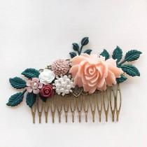 wedding photo - Pink Bridal Comb Blush Maroon Wine Red Teal Green Wedding Hair Comb Leaf Flower Soft Pastel Romantic Woodland Headpiece for Bride Customize