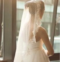 wedding photo - Ivory Cathedral Length Veil, Super Soft Bridal Veil, Mantilla Veil, Swiss polka dots Tulle lace trim veil, Bridal Veil Blusher, #3009