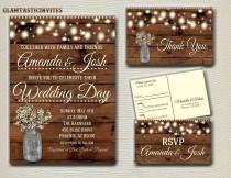 wedding photo - Rustic Wedding Invitation Printable, Country Wedding Invitation, Digital file, Printable, wedding invitation suite, Mason Jar Wedding