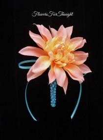 wedding photo - Peach Dahlia Boutonniere with Aqua Ribbon Accent, Mens Wedding Flower, Groom Lapel Pin Decoration