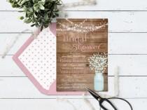 wedding photo - Mason Jar Wedding Shower Invitation, Rustic Bridal Shower Invitation Printable, Country Wedding Shower, String Lights & Pink Baby's Breath