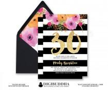 wedding photo - BLACK & WHITE BIRTHDAY Invitation Stripe Gold Glitter 30th 21st Party Modern Watercolor Flower Free Priority Shipping or DiY Printable- Mady