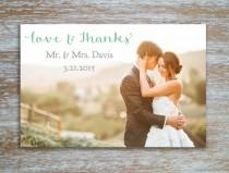 wedding photo - Elegant Wedding Thank You Card Personalized Photo Postcard in Seafoam Pistachio Gray