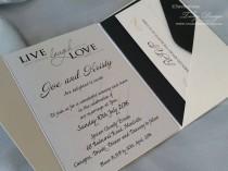 wedding photo - Modern wedding invitation A6 pocketfold 25x wedding invites, rsvp cards & envelopes. 21st Birthday elegant invitation, sweet 16, bar mitzbah