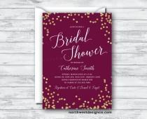 wedding photo - Maroon Gold Bridal Shower Invitation Burgundy Merlot Invite Purple Gold Bling Wedding Shower Invitation 5x7 Digital File or Printed Invites