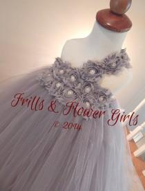 wedding photo - One Shoulder Grey or Silver Shabby Flower Tutu Dress with One Shoulder Tutu Dress for Flower Girls Sizes 2T, 3T, 4T up to Girls size 7