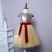 wedding photo - Gold Sequin Soft Tulle Flower Girl Dress Cap Sleeve Birthday Party Dress Knee Length With Cranberry Belt