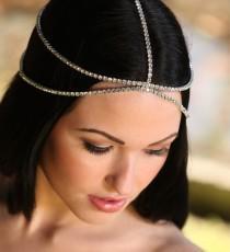 wedding photo - Isla hair chain, head chain, wedding boho headpiece, bridal BOHO Bohemian Gatsby Headband, Roaring 20s, Art Deco