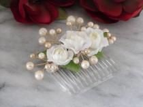 wedding photo - Ivory Pearl Hair Comb Silk Flower Bridal Beach Wedding Floral Headpiece