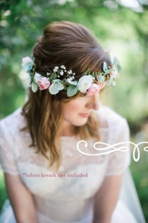 wedding photo - bridal headpiece, bridal flower crown, bridal hair piece, ivory flower crown, mint hair accessories, floral crown wedding, woodland crown