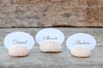 wedding photo - 10 Sea Urchin Shell Place Card Holders for Beach Wedding - Natural Pink - Reception Table Chic Decor - Guest Escort Favor Ocean Nautical
