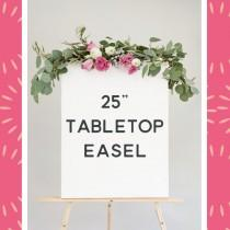 "wedding photo - Add a 25"" table top easel - natural wood easel small - wood table top easel - wedding sign easel"