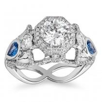 wedding photo - Freedom Ring Swallows and Diamonds Platinum 4+cts total Yogo Montana Blue Sapphires Pave Diamonds VS2 H VS1 E Pav