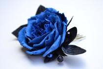 wedding photo - Navy blue black rose flower floral wedding bridal hair comb accessory. Blue hair comb wedding. Blue rose for bride