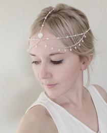 wedding photo - Bridal boho headchain, freshwater pearl hair accessory, bridal headpiece, wedding hair jewelry, boho wedding forehead chain
