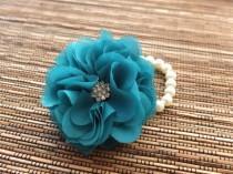 wedding photo - Wrist Corsage, Chiffon Flower Corsage (Teal), Teal Corsage, Chiffon Rose corsage