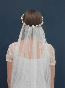 """wedding photo - Boho bridal flower crown veil - Daisy and Cherry Blossom bohemian crown with detachable veil in white or ivory - """"Battersea crown & veil"""""""