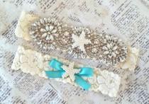wedding photo - Starfish Bridal Garter, Beach Garter Set, Starfish Garter Set, Aqua Wedding Garter, Beach Garters, Pearl Garter Set, Bridal Garter