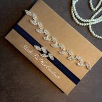 wedding photo - Leaf Rhinestone Garter Set, Crystal garter set, wedding garter set, bridal garter belt, navy blue garter set, something blue garter set,