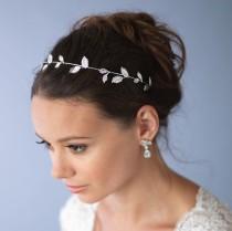 wedding photo - Floral Vine Headband, Silver Wedding Headband, Leaf Bridal Headband, Headband for Bride, Bridal Headpiece, Bridal Hair Accessory ~TI-3285