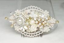 wedding photo - Gold & Ivory Bridal Comb- Lace Hair Clip- Bridal Hair Comb- Wedding Hair Accessories- Gold Bridal Comb- Pearl Hairpiece- Wedding Hair Comb