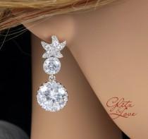 wedding photo - Star - Crystal Star Ear Post with Crystal Teardrop, Bridal, Crystal Wedding Earrings, Bridesmaids, Cubic Zirconia Earrings, Beach Wedding
