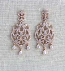 wedding photo - Rose Gold Bridal earrings, Bridal jewelry, Crystal earrings, Wedding earrings, Bridesmaids jewelry, Chandelier earrings, Swarovski AMELIA
