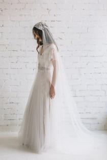 wedding photo - Wedding Veil , Juliet Veil, Wedding Veil with Crystals and Pearls , Lace Wedding Veil, Chapel Veil , Cap Veil, Bohemian Veil - Amelia