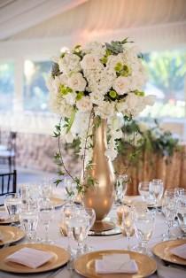 wedding photo - Gold Vase White Floral Wedding Reception Centerpiece