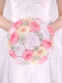 wedding photo - Wedding Brooch Bouquet White Ivory Pink Fabric Bouquet Bridal Bouquet Jewelry Bouquet Bridesmaids Bouquet Broach Bouquet Ready to ship!