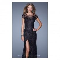 wedding photo - Black Sequin Slit Gown by La Femme - Color Your Classy Wardrobe