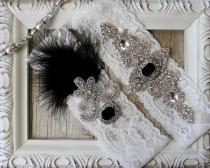 "wedding photo - Wedding garter - Vintage Garter Set w/ Black ""Onyx"" and Rhinestones on Comfortable Lace, Wedding Garter Set, Crystal Garter Set"
