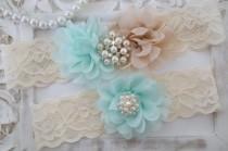 wedding photo - Wedding Garter, Bridal Garter Set - Lace Garter, Keepsake Garter, Country Garter, Chiffon Rosette -Style 810