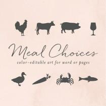 wedding photo - RSVP Meal Choice Icons for Word or Pages, Chicken, Cow, Pig, Wine, Duck, Carrot, Crab, Fish