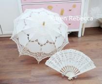 wedding photo - Special Offer Battenburg Lace Vintage Umbrella Parasol with Fan For Bridal Bridesmaid Wedding