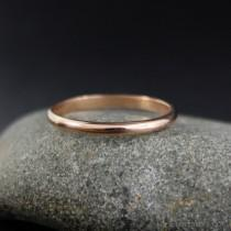 wedding photo - Solid 14kt Rose Gold Wedding Band - Comfort Fit Wedding Band