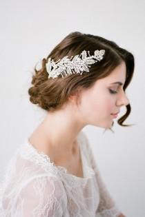 wedding photo - Wedding Hair Comb,Bridal Hair Comb,Crystal Bridal Comb,Silver Wedding Hair Comb,Wedding Hair Accessory,Leaf Headpiece,Hairpiece-ROMILLY COMB