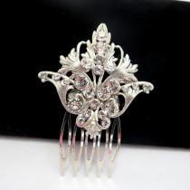 wedding photo - Wedding headpiece, Bridal hair comb, Bridal hair pin, Hair clip, Vintage style hair comb, Antique silver hair accessory, Swarovski headpiece