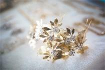 wedding photo - Wedding Headpiece, Bridal Hair Accessories, Rustic Wedding hair piece, Leaves headpiece, Wedding Crown Headpiece, Bridal headband Weddings